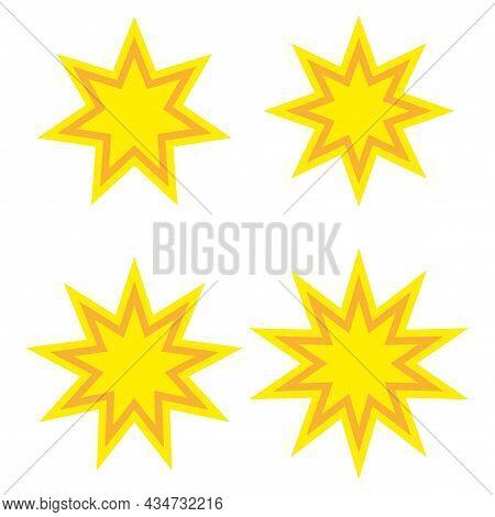 Different Yellow Boom Icon. Comic Sign. Communication Concept. Comics Art Design. Vector Illustratio
