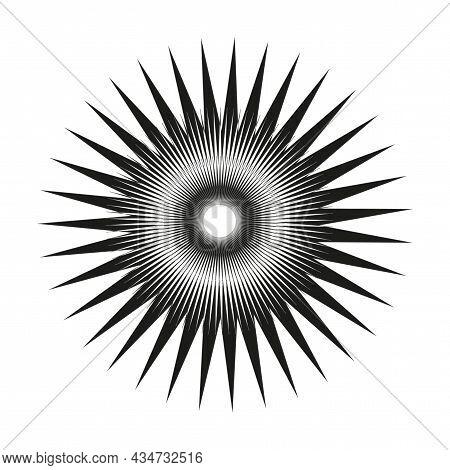 Abstract Radiant Circle Icon. Starburst Label. Design Element. Geometric Ornament. Vector Illustrati