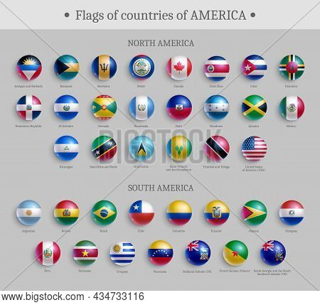 Flags Of Countries Of America Round Shape Badges Set. North And South America Official National Flag