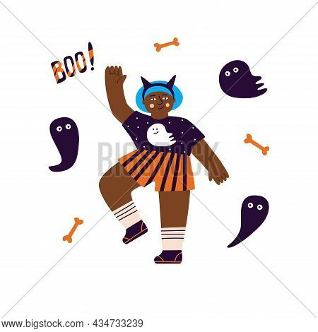 Vector Illustration Of A Decorative Composition Of A Girl In A Halloween Costume, Around Grafts And