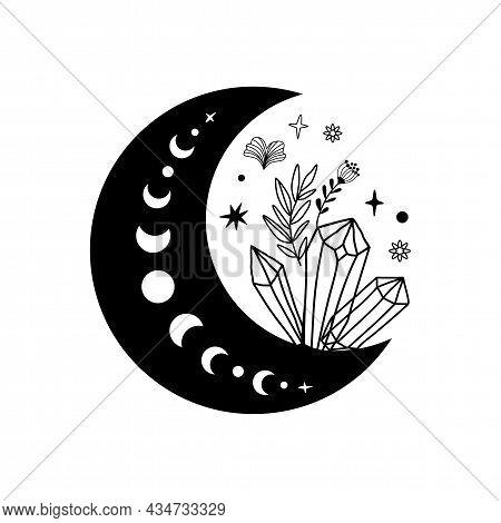 Spirituality Moon Phase Crystal Logo. Floral Moon. Black Graphic Magical Stone. Spiritual Stone Illu