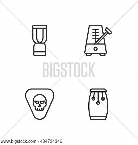 Set Line Conga Drums, Guitar Pick, African Djembe And Metronome With Pendulum Icon. Vector