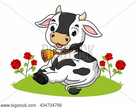 The Cute Cow Is Laying On The Grass Of Illustration