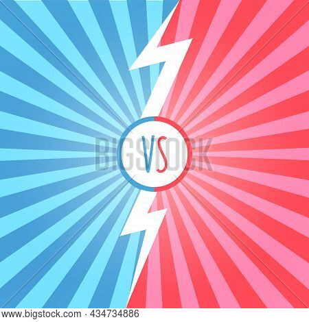 Versus Battle Retro Background With Sun Rays And Halftone. Vs Battle Headline. Competitions Between