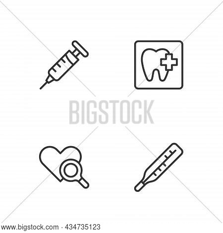 Set Line Medical Thermometer, Heart Inspection, Syringe And Dental Clinic Location Icon. Vector
