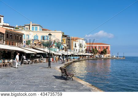 Chania, Greece - September 22, 2021: Historic Houses At The Old Venetian Harbour.