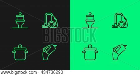 Set Line Portable Vacuum Cleaner, Cooking Pot, Toilet Bowl And Vacuum Icon. Vector