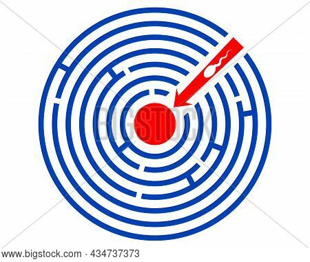 The Spermatozoon Cell Penetrates The Center Of The Labyrinth. Abstract Concept Of Conception And Fer