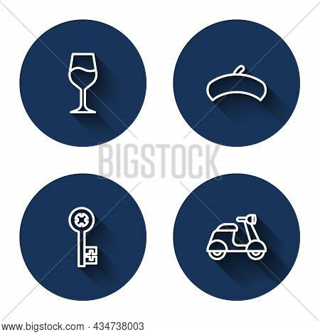 Set Line Wine Glass, French Beret, Old Key And Scooter With Long Shadow. Blue Circle Button. Vector