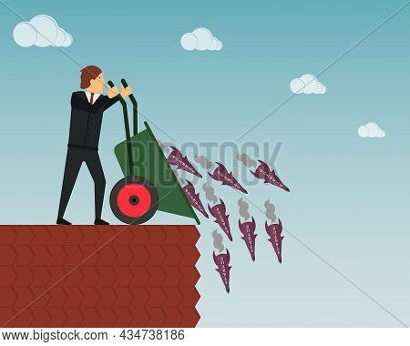 The Concept Of Useless Unrealized Startups. A Businessman Throws A Lot Of Rockets Into The Abyss Wit