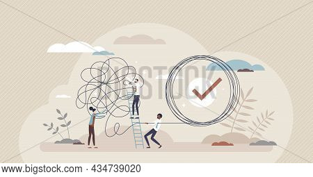 Problem Solution As Complete Difficult And Messy Task Tiny Person Concept. Business Problems Solved