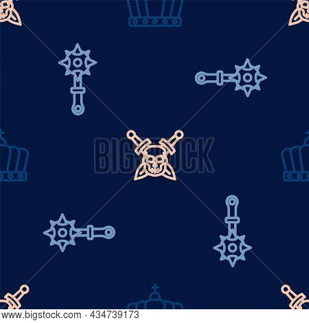 Set Line King Crown, Mace With Spikes And Skull Sword On Seamless Pattern. Vector