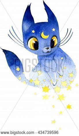 Set Of Watercolor Cliparts. Cute Mystical Cats. Voodoo Seals, Forest Cat, Skeleton Cat, Thread Cat,