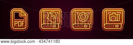 Set Line Pdf File Document, Law Book, User Manual And Photo Album Gallery. Glowing Neon Icon. Vector