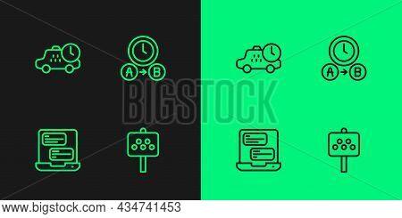 Set Line Road Sign For A Taxi Stand, Taxi Mobile App, Waiting Time And Icon. Vector