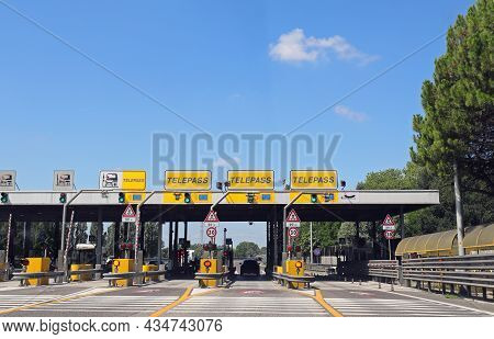 Mestre, Ve, Italy - July 19, 2020: Motorway Toll Booth With The Inscription Telepass Indicating The