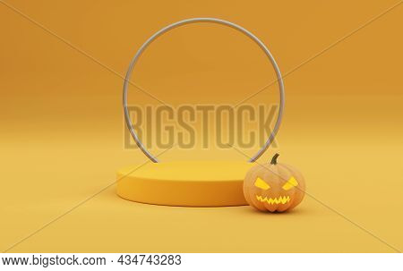 3d Pedestal Podium On Orange Background. Pumpkin With Frame Rim. Halloween Jack O Lantern Display Sh