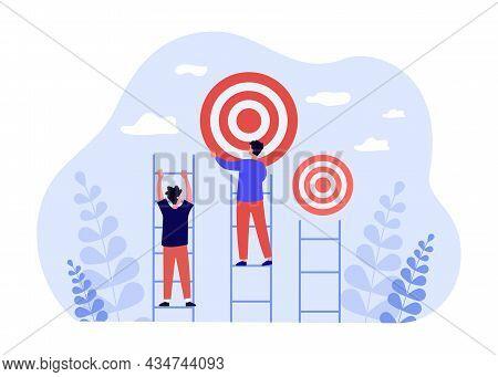 People Climbing On Success Ladder To Goal Target. Leader Man Reaching Target Flat Vector Illustratio
