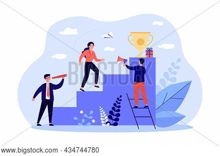 Female Leader Climbing Up Career Ladder To Golden Cup. Corporate People Working In Team, Achieving S