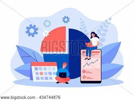 Tiny Business People Planning Work Projects. Office Workers Working With Calendar Schedule, Charts F