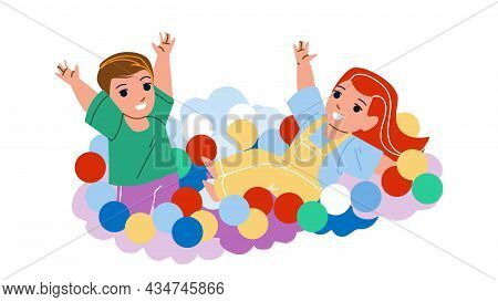 In Ball Pool Playing Boy And Girl Children Vector. Kid Resting And Enjoying In Ball Pool Together. C
