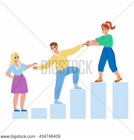 Mentor Helping Employee For Achievement Vector. Woman Mentor Help Man And Guy Help Girl For Growth W