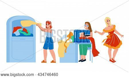 Recycle Fashion Clothes Business Process Vector. Woman Throw Out Used Clothing In Container For Recy