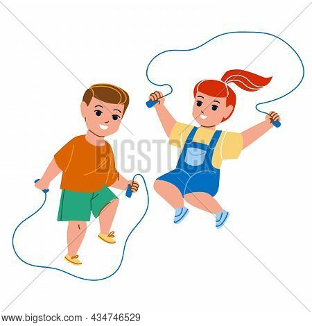 Children Jumping Rope Skipping Together Vector. Little Boy And Girl Kids Jump Rope Skipping On Kinde