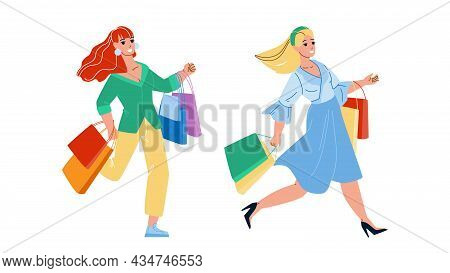 Women Running On Sale Shopping Together Vector. Happy Girls Shoppers With Bag Run On Seasonal Sale S