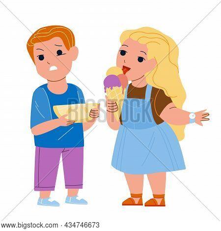 Taste Sense Of Different Eatery Product Vector. Boy And Girl Children Taste Sense, Eating Lemon Citr