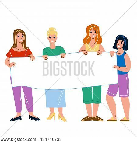 Women On Protest Demonstration Hold Banner Vector. Young Girls Protesting With Blank Poster On Demon