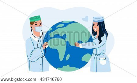 World Health Day Doctors Celebrate Holiday Vector. Man And Woman Hospital Workers Celebrating Worldw
