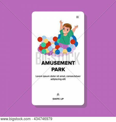 In Amusement Park Attraction Resting Baby Vector. Little Boy Child Relaxing In Amusement Park Attrac