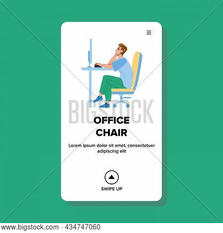 Man Sitting In Office Chair At Workplace Vector. Worker Manager Sit In Office Chair Furniture And Wo