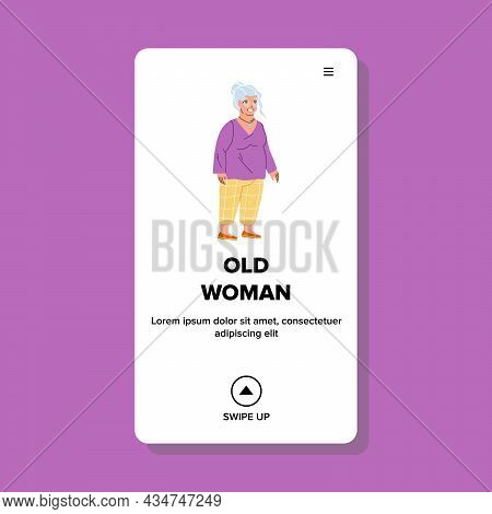Old Woman Pensioner Walking In Park Outdoor Vector. Smiling Old Woman Resting Outside Or In Nursing