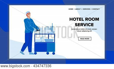 Hotel Room Service Man Carry Food And Drink Vector. Hotel Room Service Worker In Professional Unifor