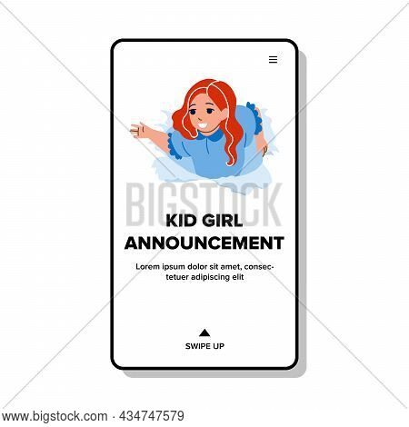 Kid Girl Announcement Children Clothes Vector. Schoolgirl Child Announcement Theater Stage Or Circus