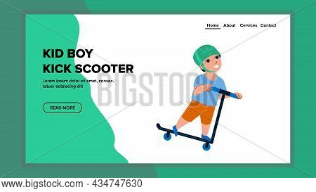 Kid Boy Riding Kick Scooter On Urban Street Vector. Schoolboy Child Wearing Protect Helmet Ride Kick