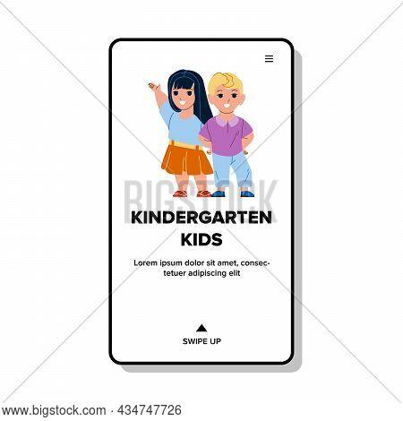 Kindergarten Kids Enjoying Togetherness Vector. Preschooler Boy And Girl Children Playing On Kinderg