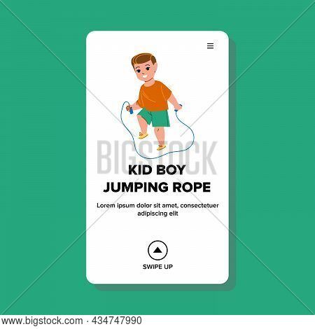 Kid Boy Jumping Rope Exercise On Playground Vector. Little Preschooler Child Jumping Rope. Character