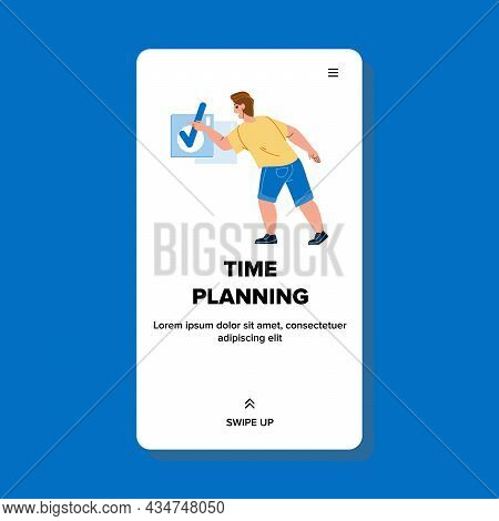 Man Time Planning And Checking In Notebook Vector. Businessman Time Planning And Organization Workin