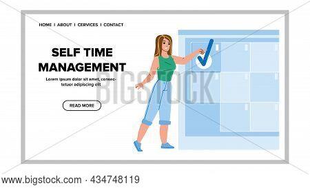 Woman Self Time Management Organization Vector. Businesswoman Self Time Management Occupation For Pl