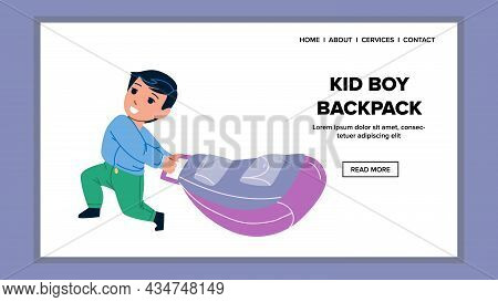 Kid Boy Pull Backpack With Books To School Vector. Schoolboy Child Pulling Heavy Backpack Accessory