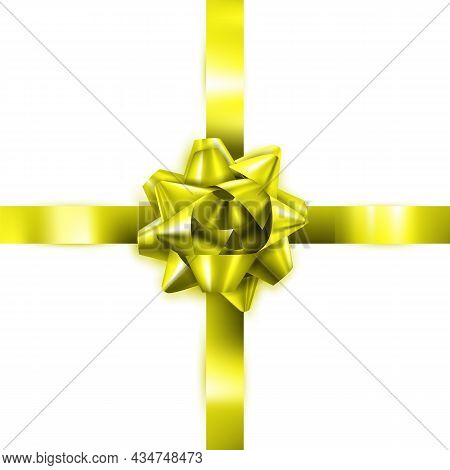 Gift Bow Decorate Box Present For Mother Vector. Elegance Yellow Gift Bow Decoration Celebration Pac