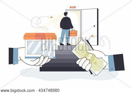 Business Owner Selling Company. Man Bankrupt Standing At Open Door For Exit, Hand Of Businessman Cha