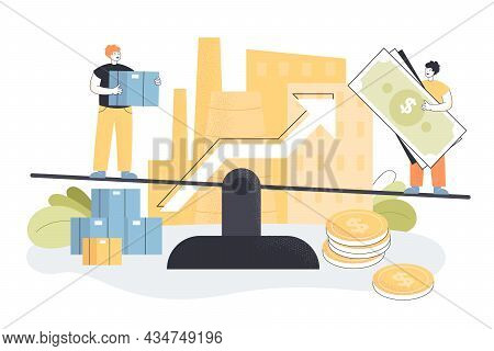 Business Investors Balancing On Scales, Achieving Profit Growth. Tiny People Investing Money In Loca