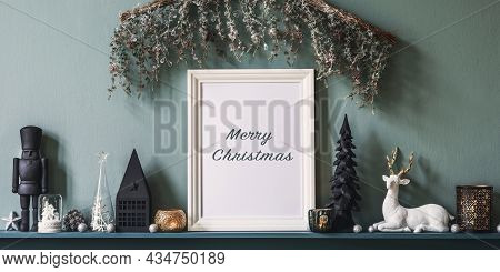 Christmas Composition On The Shelf In The Living Room Interior With Beautiful Decoration And Mock Up