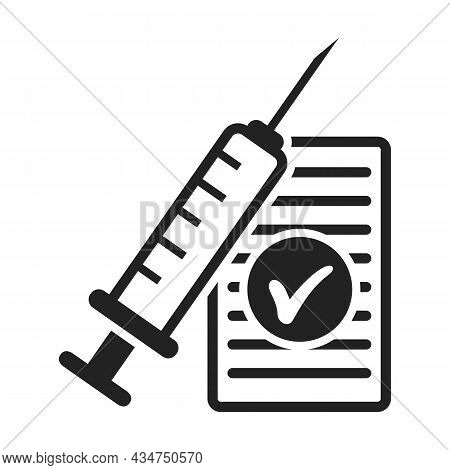 Injection Icon Drawing In Outline Style. Contour Syringe Sign With Needle And Medication. Medical Sy