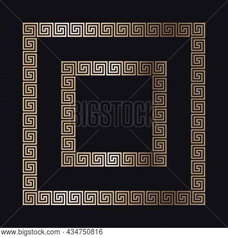 Greek Gold Frame On A Black Background, Vector