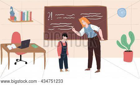 Vector Cartoon Flat Teacher Character Swears, Yells At Student, Upset Boy Depressed.healthy In-schoo